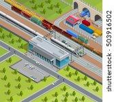 modern suburban railway station ...   Shutterstock .eps vector #503916502