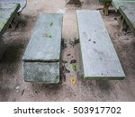 old  worn marble chair in the... | Shutterstock . vector #503917702