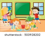 students cleaning classroom... | Shutterstock .eps vector #503928202
