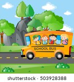 students riding on school bus... | Shutterstock .eps vector #503928388