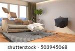 zero gravity furniture hovering ... | Shutterstock . vector #503945068