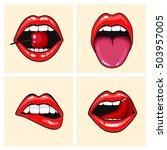 different women's lips vector... | Shutterstock .eps vector #503957005