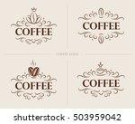 set of vector vintage coffee... | Shutterstock .eps vector #503959042