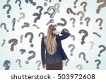 woman scratching her head and...   Shutterstock . vector #503972608
