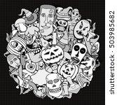 monochrome hand drawn... | Shutterstock . vector #503985682