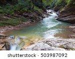 guam gorge  caucasus. fast... | Shutterstock . vector #503987092