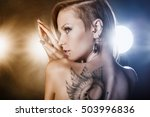 beautiful girl with a tattoo on ... | Shutterstock . vector #503996836