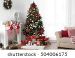 decorated christmas room with... | Shutterstock . vector #504006175