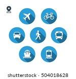 transport icons. walk man  bike ... | Shutterstock .eps vector #504018628