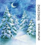 watercolor winter night forest  ... | Shutterstock . vector #504023542