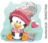 cute cartoon penguin in a... | Shutterstock .eps vector #504027466