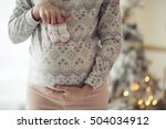 pregnant woman holding baby... | Shutterstock . vector #504034912