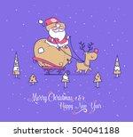 set of funny santa... | Shutterstock .eps vector #504041188