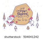 set of funny santa snowman and... | Shutterstock .eps vector #504041242