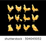 Set Of Vector Golden Rooster...