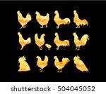 Set Of Vector Golden Rooster...