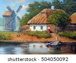 ukraine landscape paintings... | Shutterstock . vector #504050092