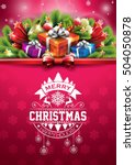 merry christmas happy holidays... | Shutterstock . vector #504050878