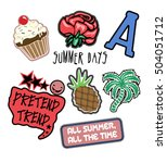 set of fashion patches and... | Shutterstock .eps vector #504051712