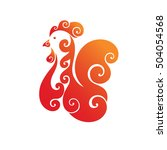 decorative fiery cock. red... | Shutterstock .eps vector #504054568