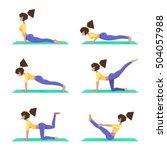 set yoga poses  a girl... | Shutterstock .eps vector #504057988