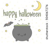 cute cartoon hand drawn happy... | Shutterstock .eps vector #504067276