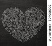 chalkboard vector hand drawn... | Shutterstock .eps vector #504068002