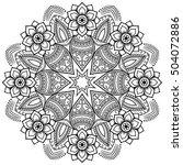 vector henna tatoo mandala.... | Shutterstock .eps vector #504072886