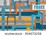 vector card with flat tubes of... | Shutterstock .eps vector #504073258