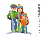 family skiers vacations in the... | Shutterstock .eps vector #504074752