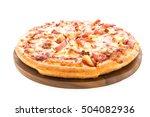hawaiian pizza on wooden plate...   Shutterstock . vector #504082936