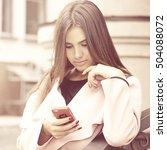 beauty young woman text... | Shutterstock . vector #504088072