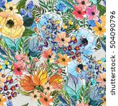 Stock photo seamless pattern with colorful flowers 504090796