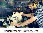 carpenter craftsman lumber... | Shutterstock . vector #504092695