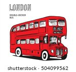 london double decker hand drawn ... | Shutterstock .eps vector #504099562
