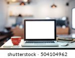side view laptop and coffee cup ... | Shutterstock . vector #504104962