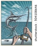 vintage deep sea fishing... | Shutterstock .eps vector #504108646
