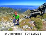 young child climbs rocky trail... | Shutterstock . vector #504115216