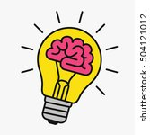 light bulb with a brain inside  ... | Shutterstock .eps vector #504121012