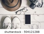 flat lay of men casual fashion...   Shutterstock . vector #504121288