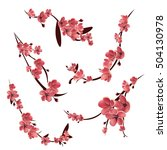 branches of pink blossoming...   Shutterstock .eps vector #504130978