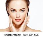 beautiful woman face portrait... | Shutterstock . vector #504134566