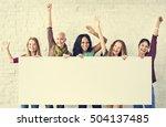 girls friendship arms raised... | Shutterstock . vector #504137485