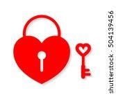 heart lock and key. flat design ... | Shutterstock .eps vector #504139456