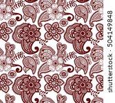 paisley mehndi seamless violet... | Shutterstock .eps vector #504149848