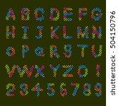 pixel text and pixel alphabet.... | Shutterstock .eps vector #504150796
