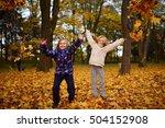 autumn happy little girls | Shutterstock . vector #504152908