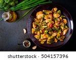 stir fry with chicken ... | Shutterstock . vector #504157396