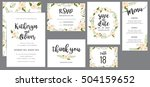 Wedding suite template decorate with wreath flowers. Including save the date card, invitation card, wedding menu, response card and thank you card. Vector illustration. | Shutterstock vector #504159652