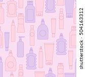 cosmetic bottles seamless... | Shutterstock .eps vector #504163312